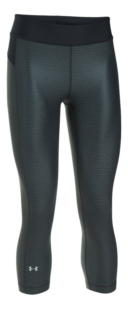 Womens Under Armour HeatGear (Printed) Capris Pants - Black/Stealth Grey XSR