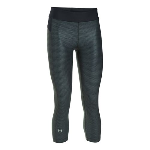 Womens Under Armour HeatGear (Printed) Capris Pants - Black/Stealth Grey SR