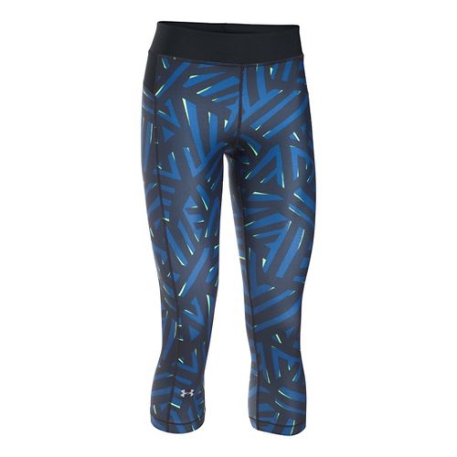 Womens Under Armour HeatGear (Printed) Capris Pants - Water/Black SR