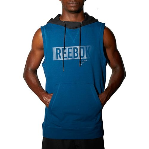 Mens Reebok TLAF Hoody Sleeveless & Tank Technical Tops - Blue XXL