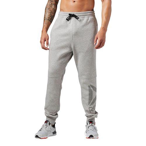 Mens Reebok WOR Big Logo Cotton Pants - Grey Heather L