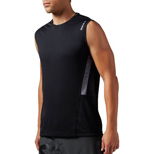 Mens Reebok Work Out Ready Tech Sleeveless & Tank Technical Tops - Black L