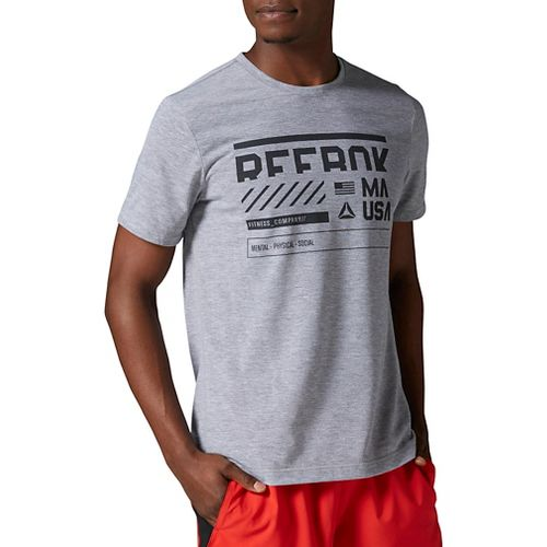 Mens Reebok Work Out Ready Supremium Tee Version A Short Sleeve Technical Tops - Grey ...