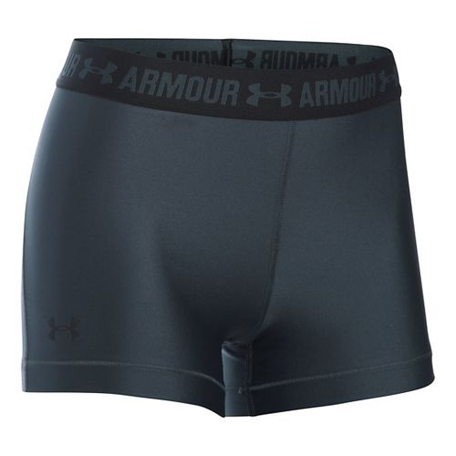Womens Under Armour HeatGear Shorty Compression & Fitted Shorts - Stealth Grey/Black M