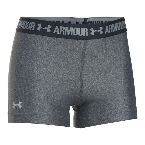Womens Under Armour HeatGear Shorty Compression & Fitted Shorts - Carbon/Anthracite M