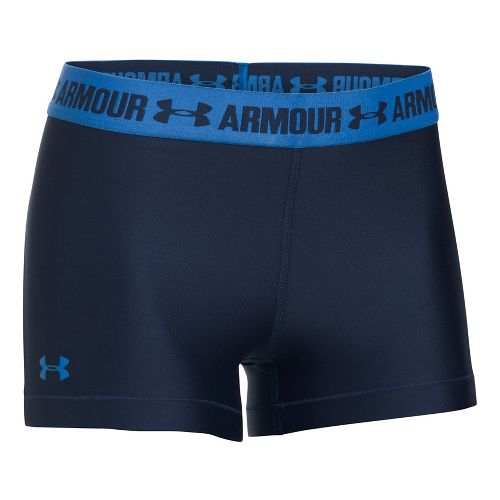 Womens Under Armour HeatGear Shorty Compression & Fitted Shorts - Navy/Mediterranean L