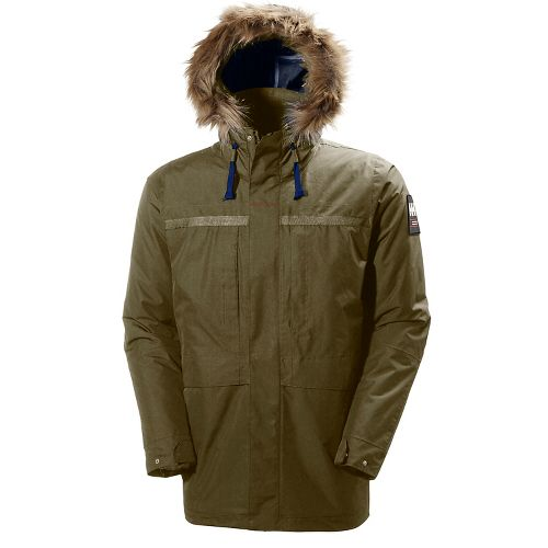 Mens Helly Hansen Coastal 2 Parka Cold Weather Jackets - Olive Night S
