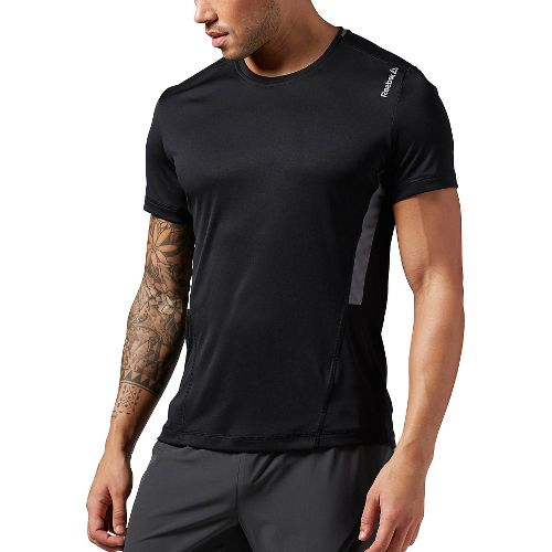 Mens Reebok Work Out Ready Tech Short Sleeve Technical Tops - Black M