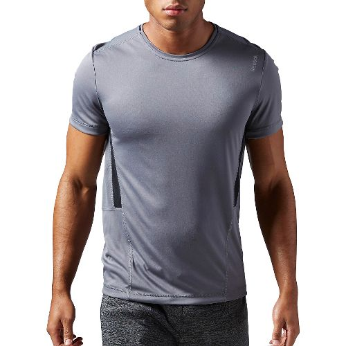 Mens Reebok Work Out Ready Tech Short Sleeve Technical Tops - Grey S