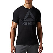 Mens Reebok Workout Ready Big Logo Supremium Tee Short Sleeve Technical Tops