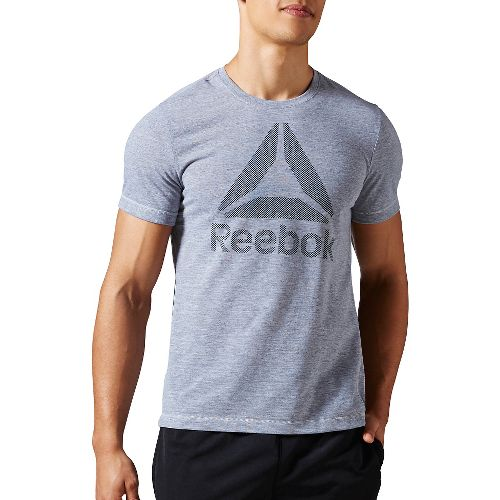 Mens Reebok Workout Ready Big Logo Supremium Tee Short Sleeve Technical Tops - Grey Heather ...