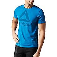 Mens Reebok Workout Ready Big Logo Supremium Tee Short Sleeve Technical Tops