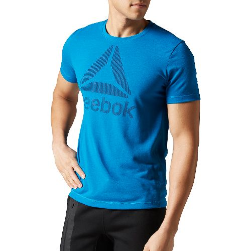 Mens Reebok Workout Ready Big Logo Supremium Tee Short Sleeve Technical Tops - Blue XL-R ...