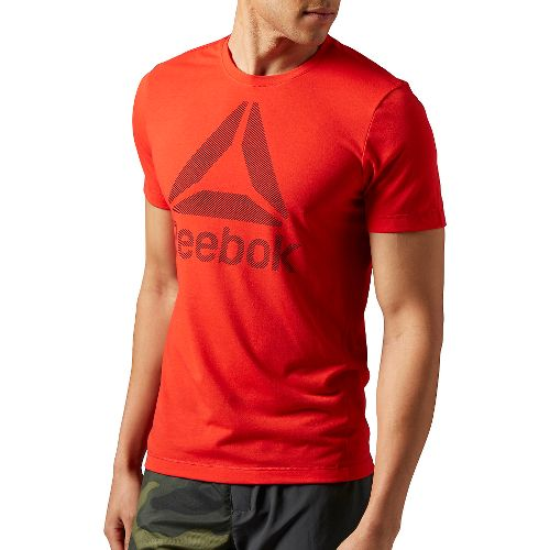 Mens Reebok Workout Ready Big Logo Supremium Tee Short Sleeve Technical Tops - Red M-R ...