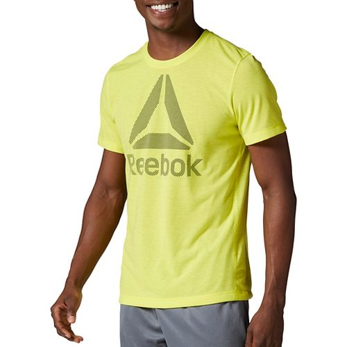 Mens Reebok Workout Ready Big Logo Supremium Tee Short Sleeve Technical Tops - Yellow L-R ...