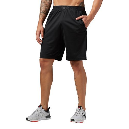 Mens Reebok Workout Ready Stacked Logo Unlined Shorts - Black M