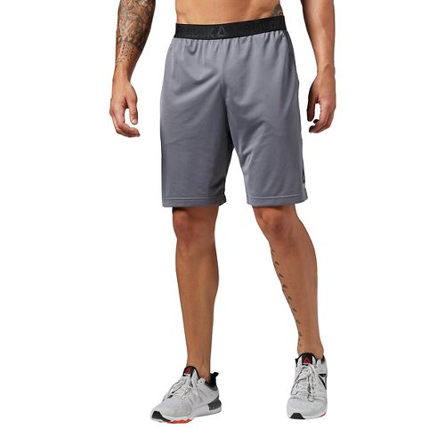 Mens Reebok Workout Ready Stacked Logo Unlined Shorts - Grey L