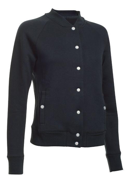 Womens Under Armour Varsity Fleece Bomber Casual Jackets - Black L