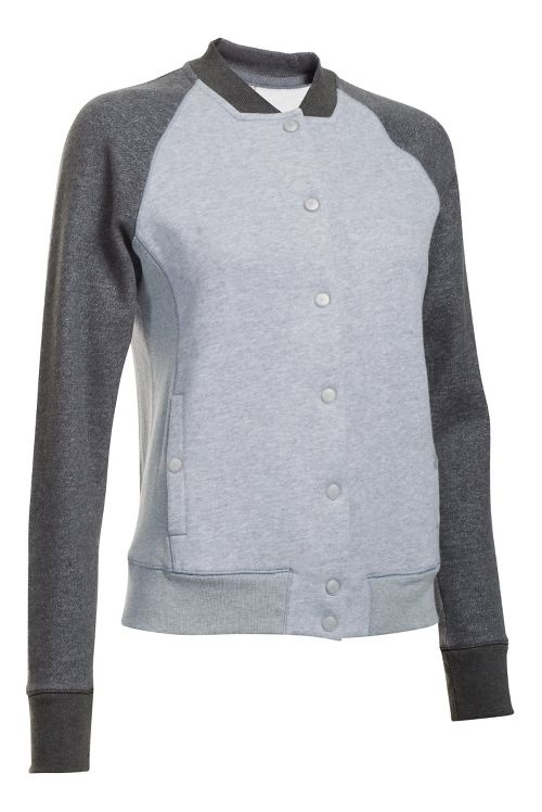Womens Under Armour Varsity Fleece Bomber Casual Jackets - True Grey Heather L