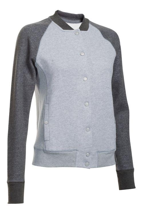 Womens Under Armour Varsity Fleece Bomber Casual Jackets - Ivory S
