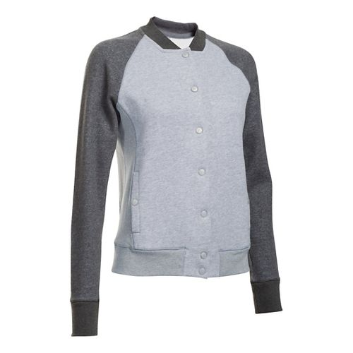Womens Under Armour Varsity Fleece Bomber Casual Jackets - True Grey Heather XL