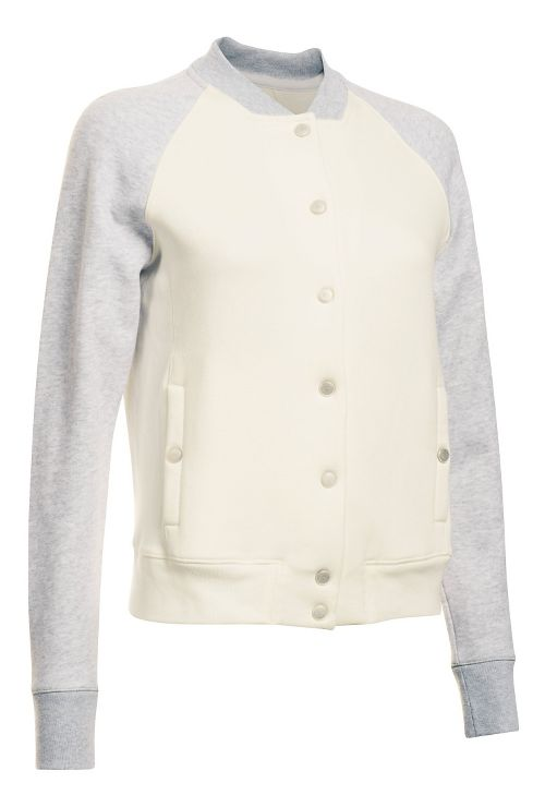 Womens Under Armour Varsity Fleece Bomber Casual Jackets - Ivory S