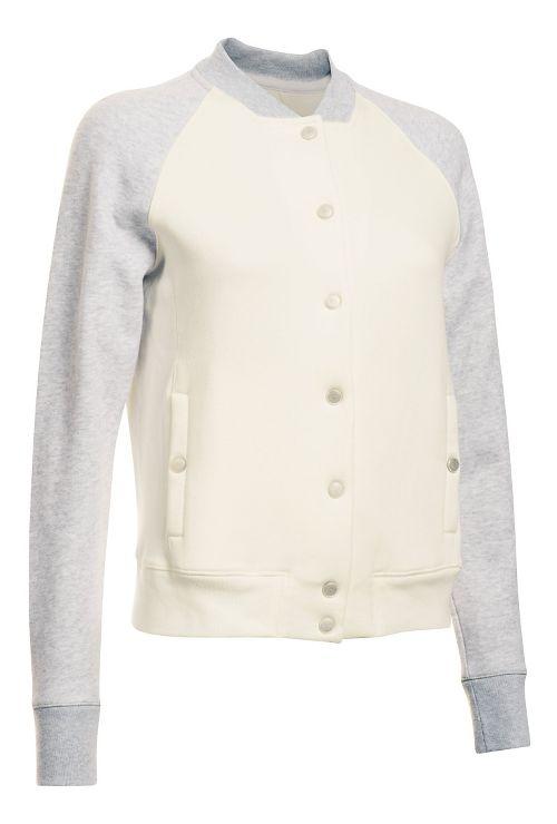 Womens Under Armour Varsity Fleece Bomber Casual Jackets - Ivory XL