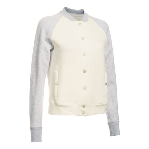 Womens Under Armour Varsity Fleece Bomber Casual Jackets - Ivory XL