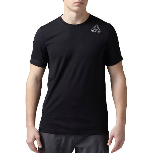 Mens Reebok Workout Ready Stacked Logo Supremium Tee Short Sleeve Technical Tops - Black M-R ...