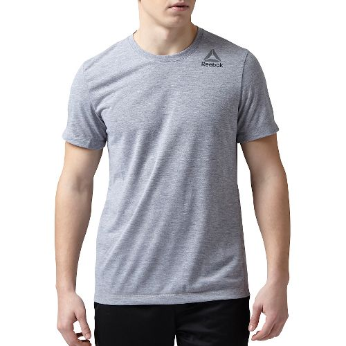 Mens Reebok Workout Ready Stacked Logo Supremium Tee Short Sleeve Technical Tops - Grey Heather ...