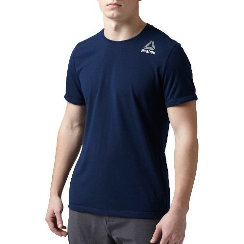 Mens Reebok Workout Ready Stacked Logo Supremium Tee Short Sleeve Technical Tops - Navy XL-R ...