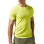 Mens Reebok Workout Ready Stacked Logo Supremium Tee Short Sleeve Technical Tops