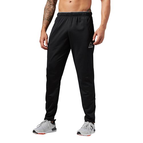 Mens Reebok Workout Ready Stacked Logo Trackster Pants - Black S