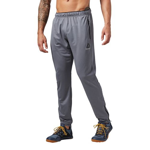 Mens Reebok Workout Ready Stacked Logo Trackster Pants - Grey L
