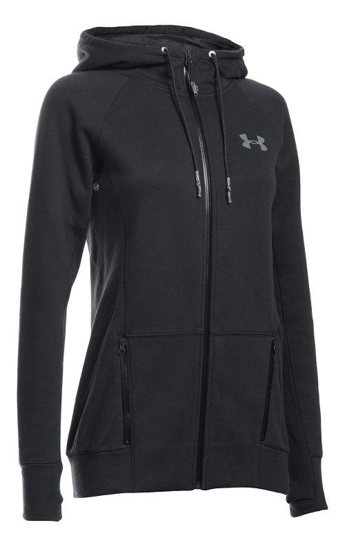Womens Under Armour Varsity Fleece Full-Zip Hoodie & Sweatshirts Technical Tops - Black LR