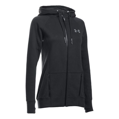 Womens Under Armour Varsity Fleece Full-Zip Hoodie & Sweatshirts Technical Tops - Black XSR