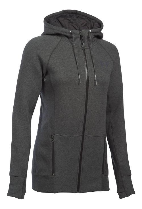 Womens Under Armour Varsity Fleece Full-Zip Hoodie & Sweatshirts Technical Tops - Carbon ...