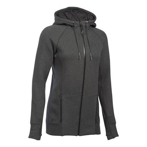 Womens Under Armour Varsity Fleece Full-Zip Hoodie & Sweatshirts Technical Tops - Carbon ...