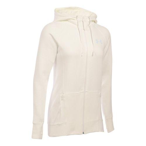 Womens Under Armour Varsity Fleece Full-Zip Hoodie & Sweatshirts Technical Tops - Ivory XLR