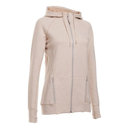 Womens Under Armour Varsity Fleece Full-Zip Hoodie & Sweatshirts Technical Tops - Oatmeal ...