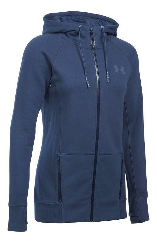 Womens Under Armour Varsity Fleece Full-Zip Hoodie & Sweatshirts Technical Tops - Faded Ink LR