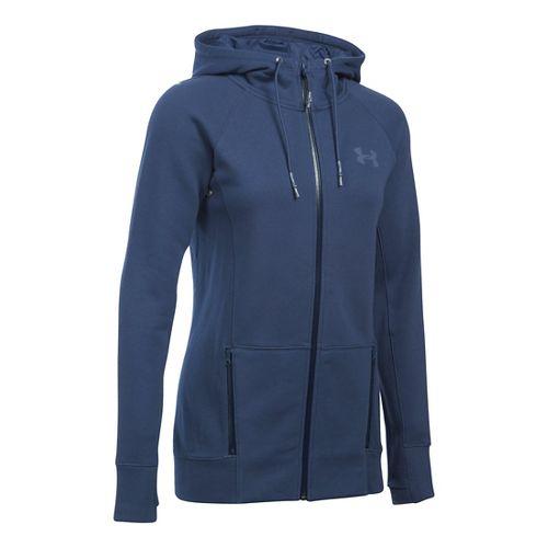 Womens Under Armour Varsity Fleece Full-Zip Hoodie & Sweatshirts Technical Tops - Faded Ink XSR ...