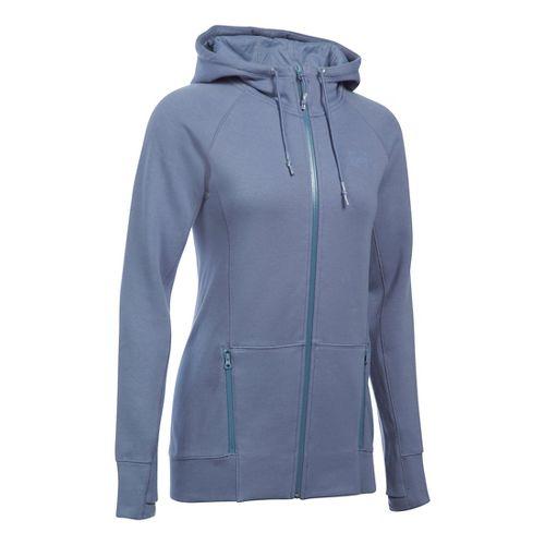 Womens Under Armour Varsity Fleece Full-Zip Hoodie & Sweatshirts Technical Tops - Aurora Purple SR