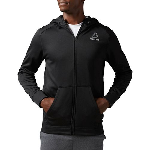 Mens Reebok Workout Ready Warm Poly Fleece Fullzip Long Sleeve Technical Tops - Black L ...