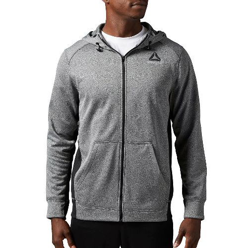 Mens Reebok Workout Ready Warm Poly Fleece Fullzip Long Sleeve Technical Tops - Grey Heather ...