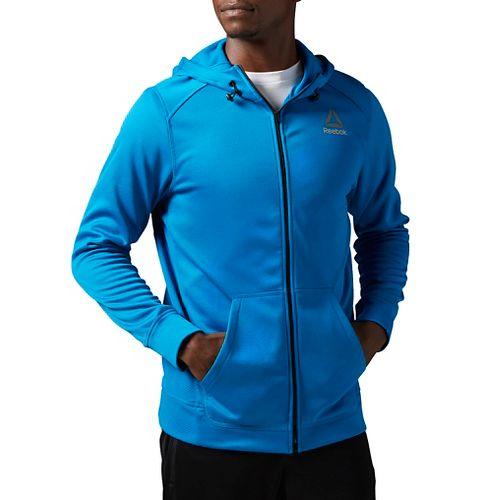 Mens Reebok Workout Ready Warm Poly Fleece Fullzip Long Sleeve Technical Tops - Blue M ...