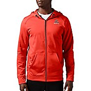 Mens Reebok Workout Ready Warm Poly Fleece Fullzip Long Sleeve Technical Tops