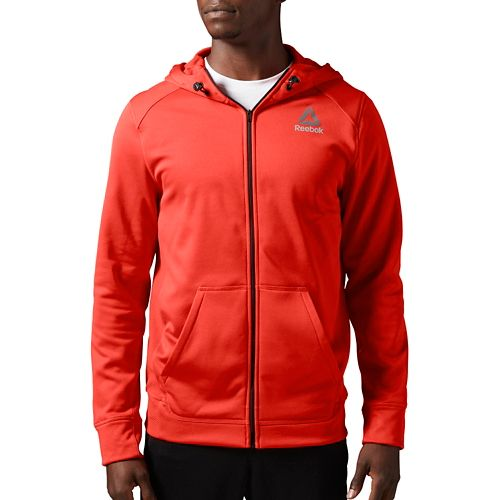 Mens Reebok Workout Ready Warm Poly Fleece Fullzip Long Sleeve Technical Tops - Red L ...