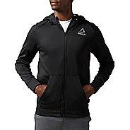Mens Reebok Workout Ready Warm Poly Fleece Fullzip Long Sleeve Technical Tops