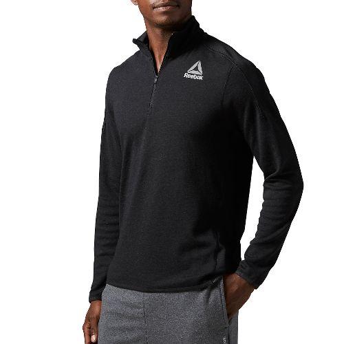 Mens Reebok Workout Ready Wool 1/4 zip Long Sleeve Technical Tops - Black M-R